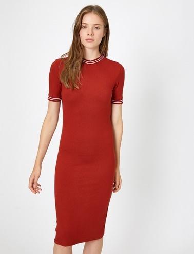 Koton Çizgili Elbise Kırmızı